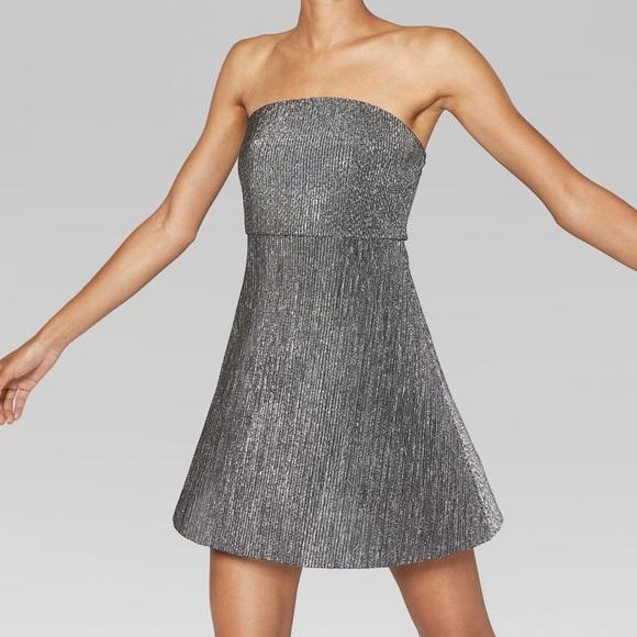 f83a92a293a Strapless Black/Silver Metallic Mini Dress NWT
